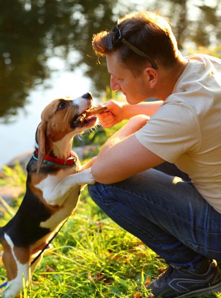 Man and Dog by Lake